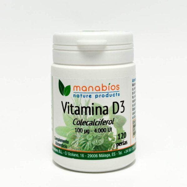 Vitamina D3 120 perlas. Manabios